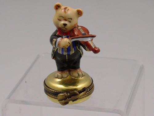 Chamart Bear Orchestra Violin Limoges Box 2000\082VL
