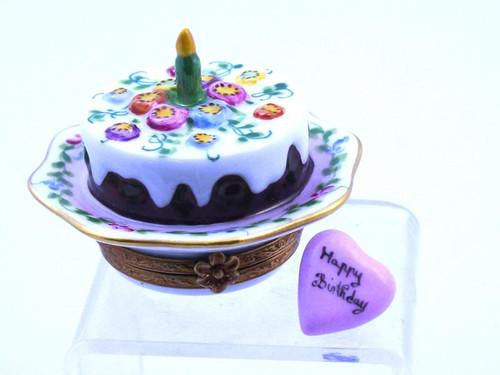 Chamart Bday Cake Ribbon Limoges Box 99\116
