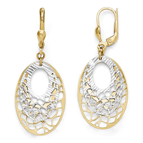 Polished and Diamond-cut Leverback Earrings - 10k Gold Two-Tone 10LE237