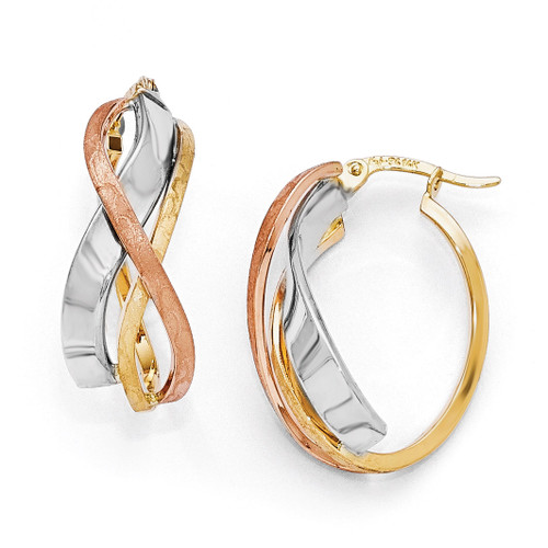 Tri-color Polished and Brushed Fancy Hoop Earrings - 14k Gold LE651