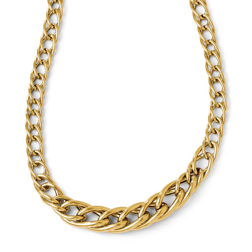 Polsihed Fancy Link with 2 Inch Extension. Necklace - 14k Gold LF162-18