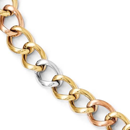 Tri-color Polished Link Bracelet 8 Inch - 14k Gold LF347-8