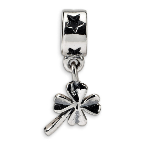 4-leaf Clover Dangle Bead - Sterling Silver QRS1145