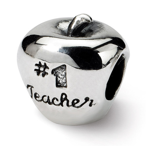 #1 Teacher on Apple Bead - Sterling Silver QRS1657