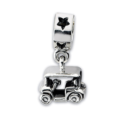 Golf Cart Dangle Bead - Sterling Silver QRS1866