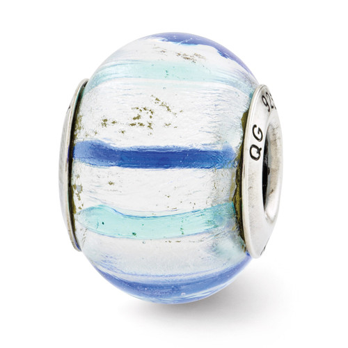 Teal Blue White Murano Glass Bead - Sterling Silver QRS2774
