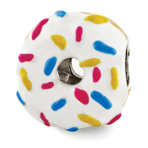 Enameled Donut with Sprinkles Bead - Sterling Silver QRS2957