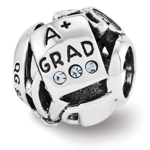 Swarovski Graduation Collage Bead - Sterling Silver QRS3444