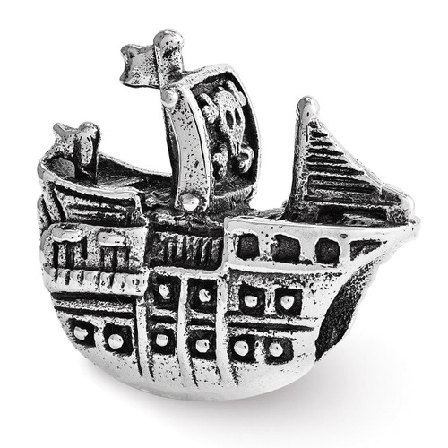 Pirate Ship Bead - Sterling Silver QRS3538