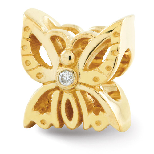 .015ct. Diamond Butterfly Bead - 14k Gold QRS364