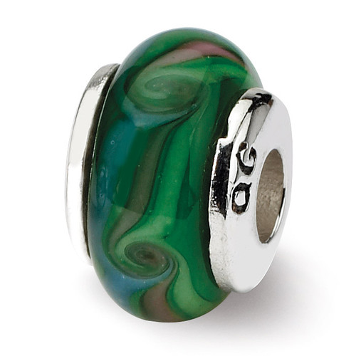 Green Hand-blown Glass Bead - Sterling Silver QRS893