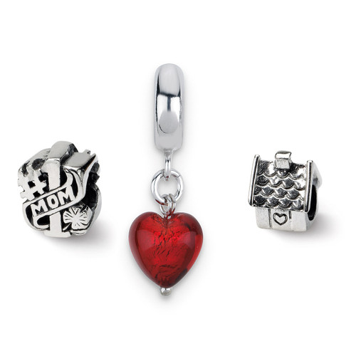 #1 Mom Boxed Bead Set - Sterling Silver QRSET79