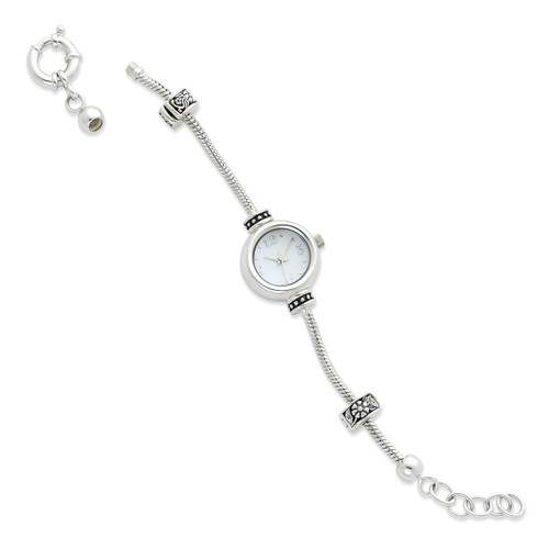 Round Face Watch Starter Bead Bracelet - Sterling Silver QRSWA1SET