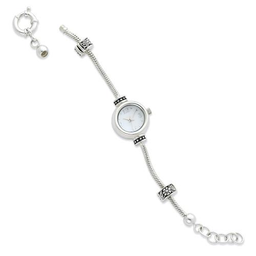 8 Inch Round Face Watch Starter Long Bead Bracelet - Sterling Silver QRSWA1SET-L