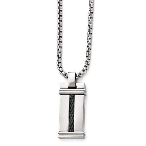 Edward Mirell Titanium & Cable Polished Pendant Necklace EMN113-20