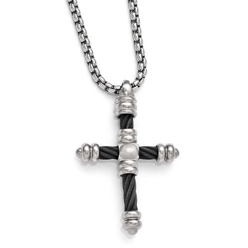 Edward Mirell Titanium Cable Cross Pendant Necklace EMN124-20
