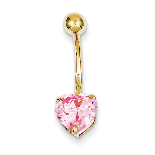 8Mm Pink Synthetic Diamond Heart Belly Dangle 10k Gold 10BD111