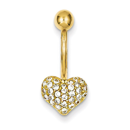 Pave Synthetic Diamond Heart Belly Dangle 10k Gold 10BD114