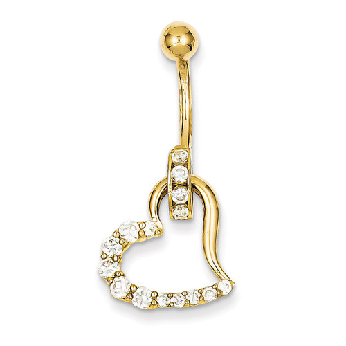 Synthetic Diamond Huggy Heart Belly Dangle 10k Gold 10BD118
