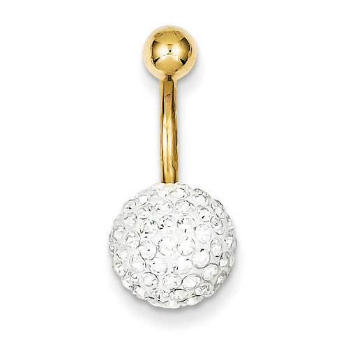 10Mm White Crystal Ball Belly Dangle 10k Gold 10BD119