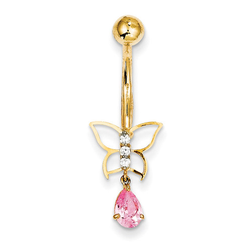 Dangle Butterfly Pink Synthetic Diamond Belly Dangle 10k Gold 10BD136
