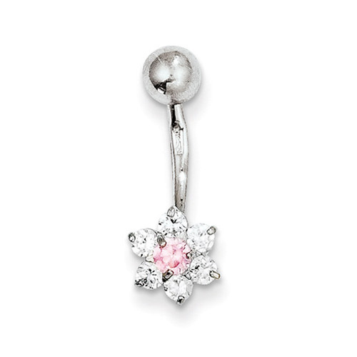 Synthetic Diamond Flower Pink Center Belly Dangle 10k White Gold 10BD139