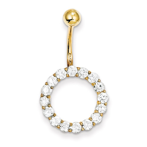 Synthetic Diamond Circle Of Life Tops Down Belly Dangle 10k Gold 10BD148