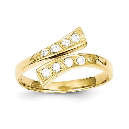 Toe Ring 10k Gold Synthetic Diamond 10C1162