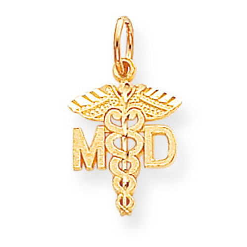 Solid Doctor of Medicine MD Charm 10k Gold 10C745