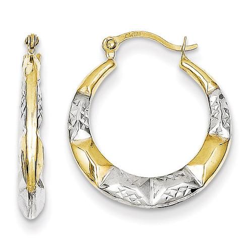Hollow Hoop Earrings 10K Gold & Rhodium 10ER257