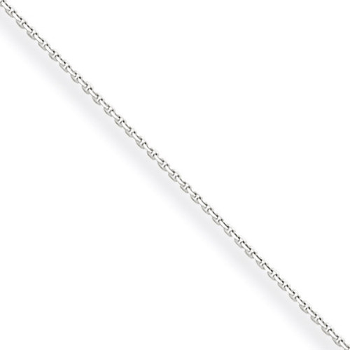 0.5mm Solid Diamond-cut Cable Chain 18 Inch 10k White Gold 10PE145-18