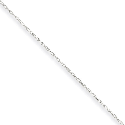 0.8mm Polished Lite Baby Rope Chain 20 Inch 10k White Gold 10WPE3-20