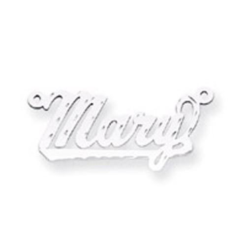 0.013 Gauge Polished Diamond-cut Nameplate 10k White Gold 10XNA163W