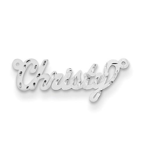 0.013 Gauge Polished Diamond-cut Nameplate 10k White Gold 10XNA166W