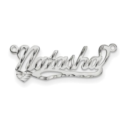 0.013 Gauge Polished Diamond-cut Nameplate 10k White Gold 10XNA169W