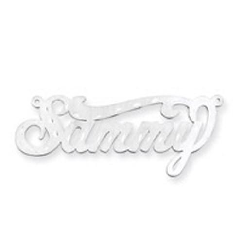 0.013 Gauge Satin Diamond-cut Nameplate 10k White Gold 10XNA170W