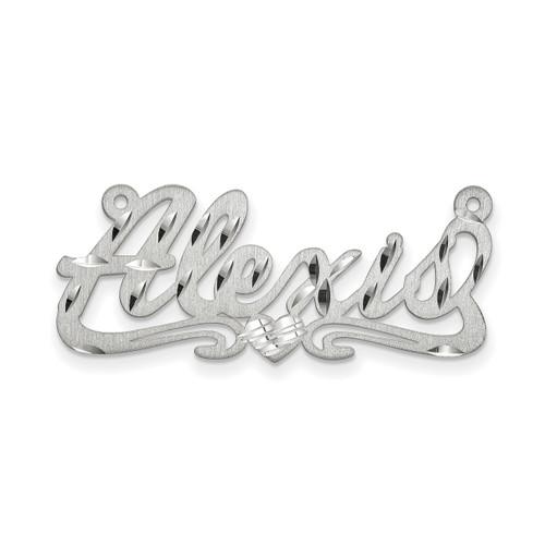 0.013 Gauge Satin Diamond-cut Nameplate 10k White Gold 10XNA178W