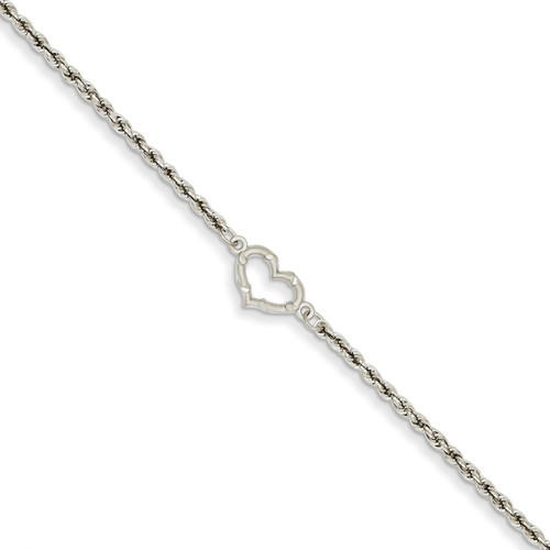 Rope with Heart Anklet 10 Inch 14k White Gold ANK153-10