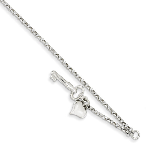 Adjustable Polished Puffed Heart & Key Anklet 10 Inch 14k White Gold ANK45-10
