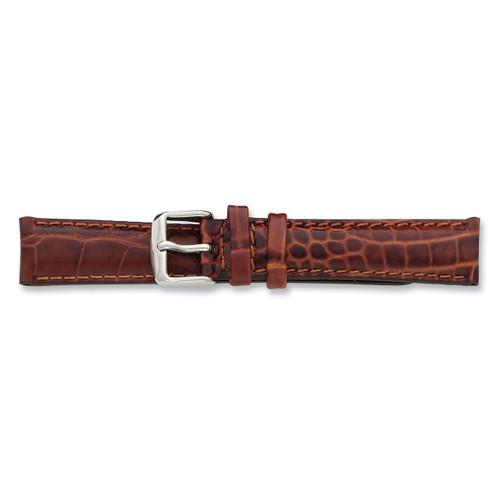 22mm Havana Crocodile Chrono Silver-tone Buckle Watch Band BA104-22