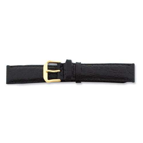 18mm Black Alligator Grain Leather Gld-tone Buckle Watch Band BA22-18