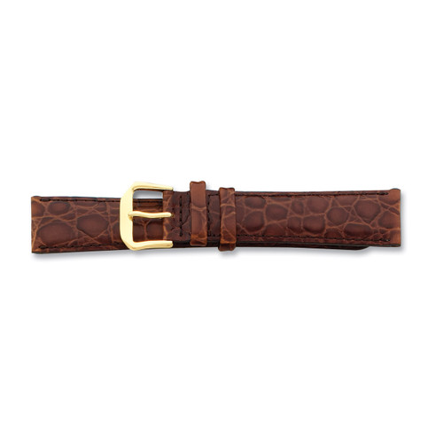 18mm Long Brown Alligator Grain Leather Gld-tone Buckle Watch Band BA23L-18