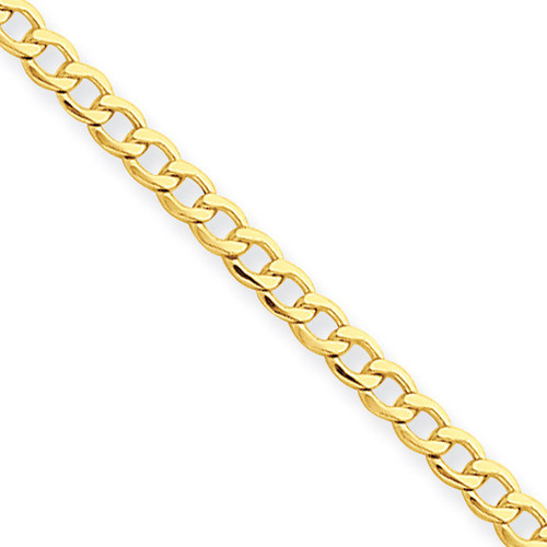 2.5mm Semi-Solid Curb Link Chain 18 Inch 14k Gold BC124-18