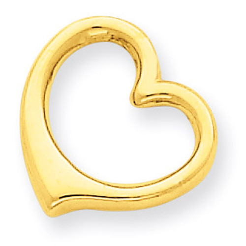 3-D Floating Heart Slide 14k Gold C2917