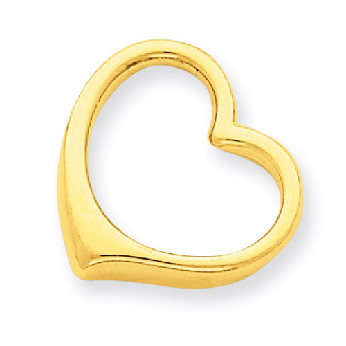 3-D Floating Heart Slide 14k Gold C2918