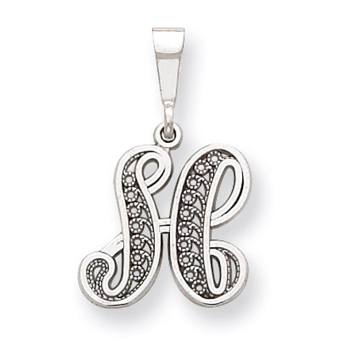 Filigree Initial H Pendant 14k White Gold Solid Polished D1281H