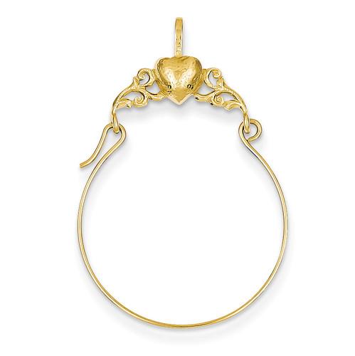 Heart Charm Holder 14k Gold Polished D1310