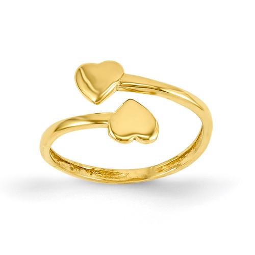 Double Heart Toe Ring 14k Gold D1935