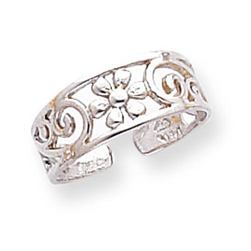 Floral Toe Ring 14k White Gold D1969