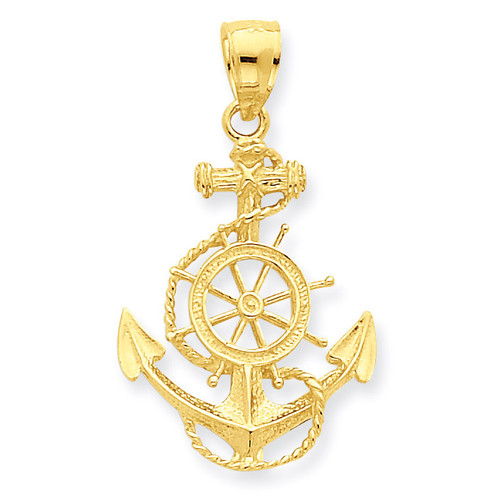 Anchor and Wheel Pendant 14k Gold D4163